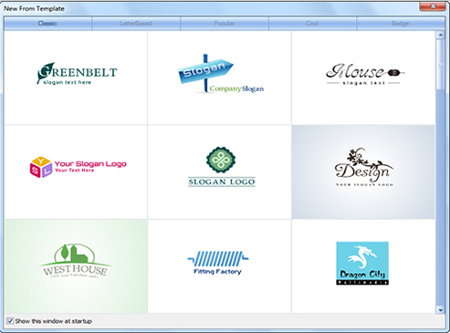 select template to create logo
